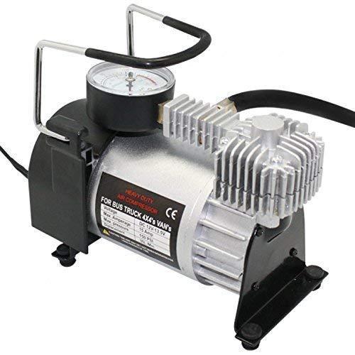 ALMURAT Heavy Duty Metal Electric Car Air Compressor Pump Portable Tire Tyre Inflator, Cooper Winding, 12V Dc, 120Psi, 35L/Min Air Flow(Multi-Color)(12.5.*6.*9 cm)