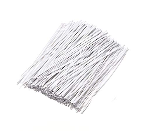 100pcs Paper White Twist Ties Reusable Pack Grocery Vegetable Coffee Butter Bread Bags Products Heavy Package Warpper Storage Flat Twisties Metal Wire Cable Tie Bailing 5in Bulk Roll Large Wires V