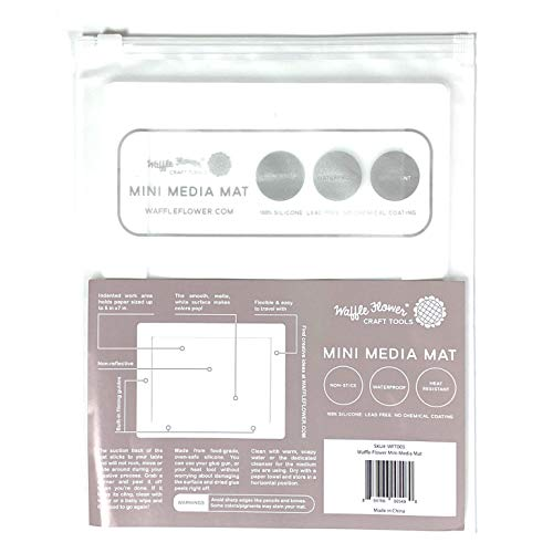 Waffle Flower Mini Media Mat - New mat is a Mini Version of Our Water Media Mat That is Non-Slip, Waterproof and Heat-Resistant. The mat is Ideal for Travel Crafting.