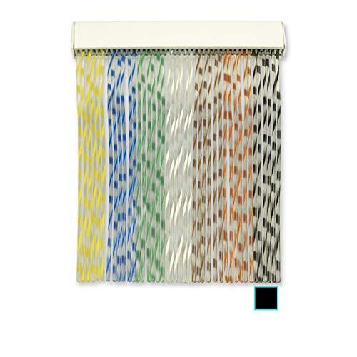 Cortinas Exterior Puerta de Cordon | Material Plastico PVC y Barra Aluminio | Ideal para Terraza y Porche | Antimoscas | Negro | 210 * 120