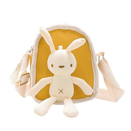 NancyMissY 子供用バッグかわいいウサギ子供用ミニスクエアジッパーバッグ調節可能なショルダーストラップキャンバスサッチェルシングルショルダーバッグ