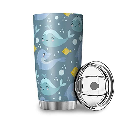 Facbalaign Delfin und Wal Wasserbecher Fisch Isolierbecher Edelstahl Doppelwandig Coffee Mug Travel Cup Mit Deckel 20oz White 600ml