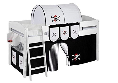 Lilokids Spielbett IDA 4105 Pirat Schwarz Teilbares Systemhochbett weiß-mit Vorhang Kinderbett, Holz, 208 x 98 x 113 cm