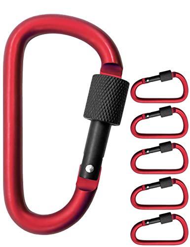 Outdoor Saxx® - 5X grote schroef-karabijnhaak voor bevestiging van uitrusting, aluminium, 8cm, rood, zwart, pak van 5