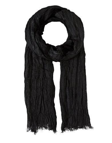 Vincenzo Boretti Herren Damen Schal modern elegant edel uni einfarbig Crinkle-Optik dünn leicht fein Herrenschal Hals-Tuch schwarz
