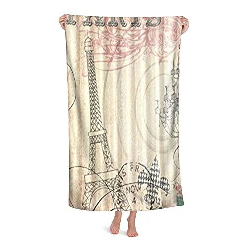 "Superfine Fiber Large Lightweight Bathroom Sheet Absorbent,Vintage Paris Eiffel Tower Best Visual Enjoyment for You,Beach Bath Towel Blanket for Women Men Family Hotel Home Decor,32"" x 52"""