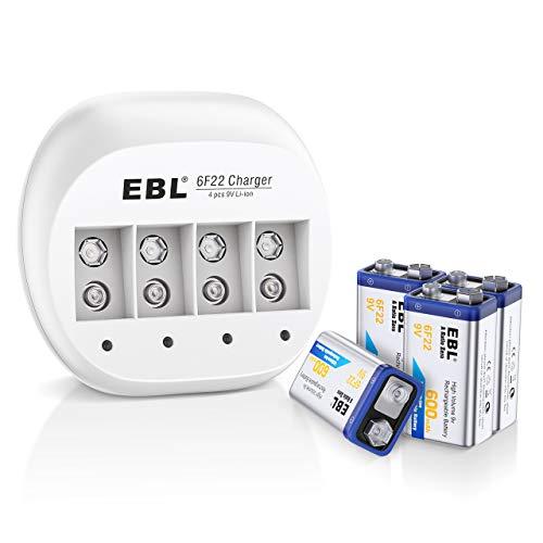 EBL Caricabatterie 4 slot per 9V Batterie Ricaricabili, Caricatore + 600mAh 9V Pile Ricaricabili da 4 pezzi