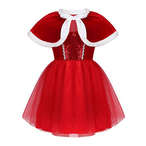 Agoky Kids Girls Christmas Outfit Sequins Mesh Tutu Dress with Velvet...