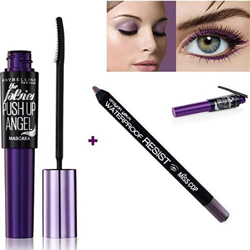 Kit Gemey Maybelline Push Up Angel Mascara, 9.5 ml - Very Black/Noir + Crayon Yeux Waterproof inclus (Violet)