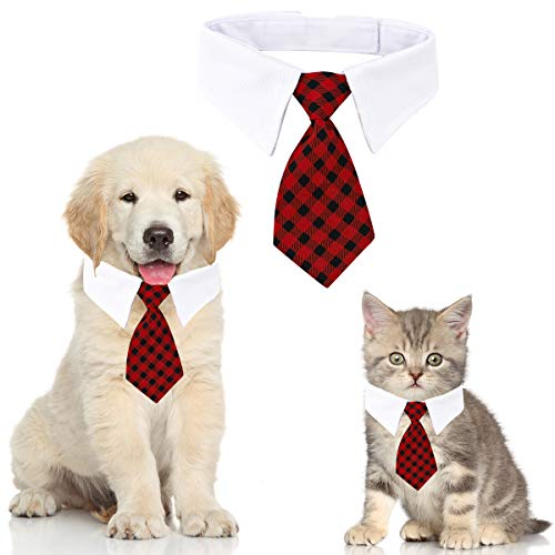 Haustier Krawatte Hundekrawatte Einstellbare Kostüm Hundehalsband für Kleine Hunde und Katzen Hündchen Pflege Krawatten Party Zubehör Weihnachtskostüm (L, Gitter-Tiefrot)