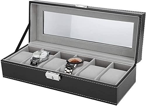 Caja De Reloj De Cuero con 6 Ranuras Caja De Reloj con Tapa De Vidrio Caja De Almacenamiento De Joyería con Cerradura Y Llave