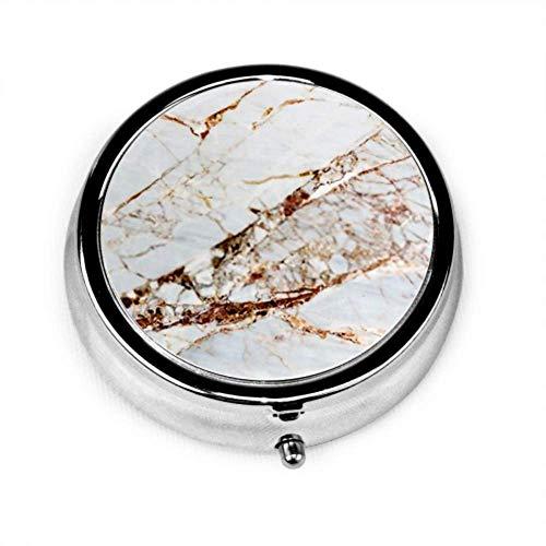 Pille Organizer Fall, graue helle Marmor Stein Textur Hintergrund tragbare Pille Box, runde Pille Box