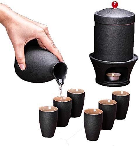 Dujie 9-teiliges Sake-Set mit Stövchen, japanische schwarze Keramik, Hot Saki-Set inkl. 1 Kerzenherd, 1 Warmhaltebecher, 1 Sake-Topf und 6 Sake-Bechern.