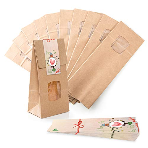 Verpackung 25 kleine braune Blockbodenbeutel Geschenk-Tüte MIT Fenster + Pergamineinlage 10 x 6,5 x 27,5 cm + 25 Aufkleber 5 x 15 cm Welt nur für Dich rosa pink HERZ