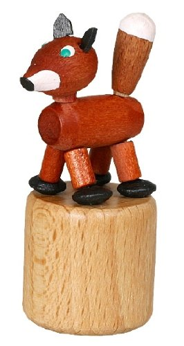 Blikdier vos wiebelfiguur zeep speelgoed hoogte 7,5 cm drukknop Ertsgebergte NIEUW