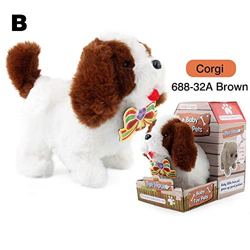 Blossomer Plush Puppy Dog, Walking Barking Electronic Interactive Puppy Plush Animated Pet Dog Toy For Kids Toddlers Children Boy Girls