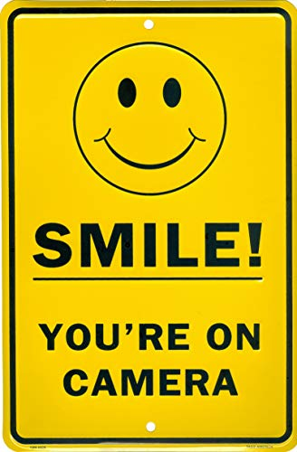 Tags America Smile You're On Camera Video Surveillance Sign, 8 x 12 Inch Aluminum Metal