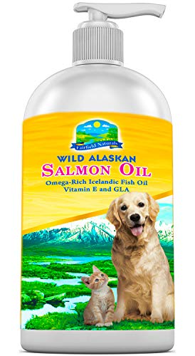 Fairfield Naturals Omega 3 Pet Fish Oil for Dogs & Cats - Organic Wild Alaskan Salmon Fish Oil | Supports Joint Function, Immune & Heart Health - All Natural DHA & EPA Fatty Acids for Skin & Coat |