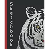 Unlined Composition Notebook: Composition Book Unruled Blank Perfect for Drawing Sketching Doodling Collecting Thoughts, Note Taking and Many More With a Tiger Black Cover Great Gift for Animal Lover