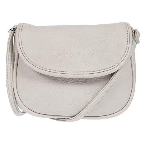 Christian Wippermann kleine Damen Handtasche Schultertasche Umhängetasche 18 x 14 x 3,5 cm (Hellgrau)