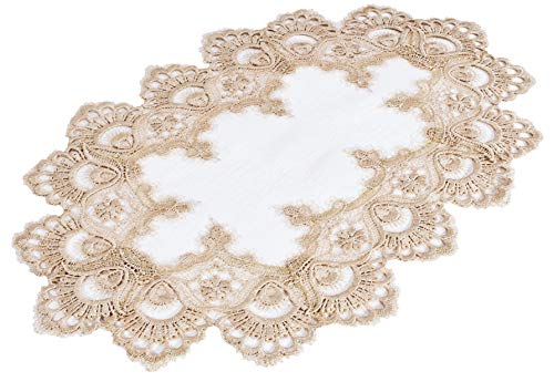 Gold Doily or Placemat in European Lace with Cream Fabric Size 12 X 18