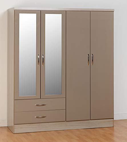 Seconique Nevada 4 Door 2 Drawer Wardrobe, Oyster