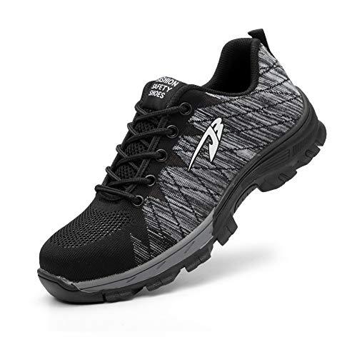 Zapatos de Seguridad para Hombre Mujer con Puntera de Acero Zapatillas de Seguridad Trabajo Calzado de Industrial y Deportiva 0058JBgrey41