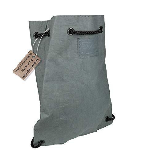 papyrMAXX Backpack BOB - umweltfreundlicher Rucksack Sportbeutel Damen Herren aus waschbarem Papier 0,55 cm stark I Leichter Alltags-Rucksack mit Kordel in Lederoptik 35 x 43 x 12 cm anthrazit