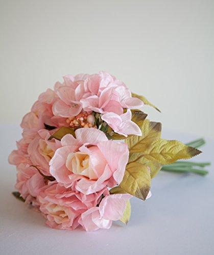 Rose en Soie Bunch 9 têtes 2 couleurs Mariage Table événements, rose, 22 cm