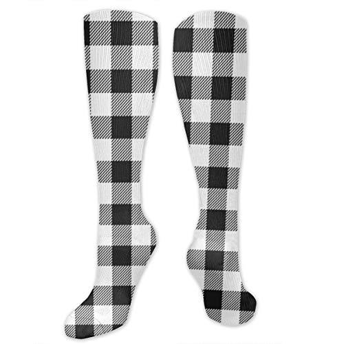 Meiya-Design Pet Quilt - Calcetines largos para mujer y hombre, diseño de cuadros de búfalo, de alto rendimiento, para viajes, correr, senderismo, fútbol