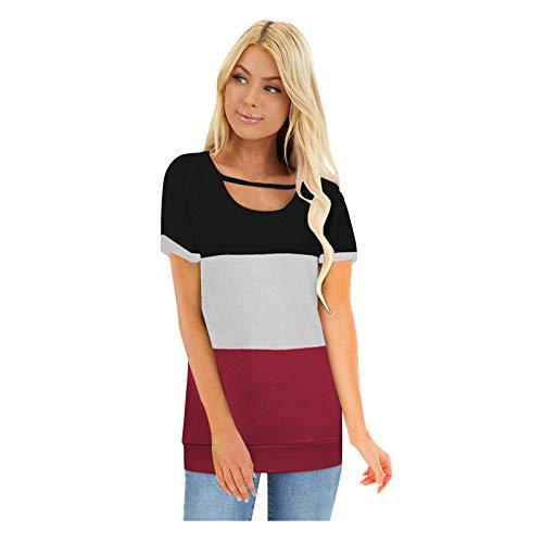 URIBAKY - Camiseta de manga corta para mujer, multicolor, para deporte, cuello redondo, informal, de manga corta rosa XXL