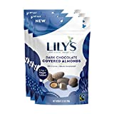 Lily's Dark Chocolate Style Covered Almonds Dark Chocolate, Dark Chocolate Almonds, 3.5 Ounce (Pack of 3), 10.5 Ounce from Lily's