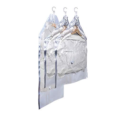 Bolsas de ahorro de espacio para colgar bolsa compresible funda de ropa, paquete de 3 bolsas de ahorro de espacio al vacío, selladas para trajes de ropa, bolsas de viaje (color: transparente + blanco)