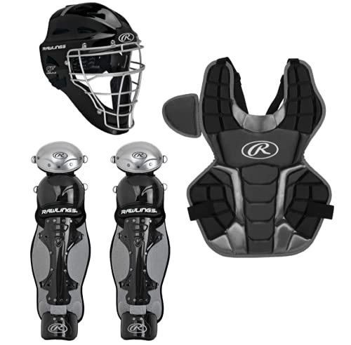 Rawlings Renegade 2.0 Intermediate NOCSAE Baseball Protective Catcher's Gear Set, Black and Silver, Ages 12-15