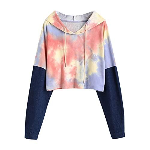 Adolescentes Chicas Sudaderas Cortas con Capucha Tumblr Estampado Casual Tops Blusas Camiseta para Mujer