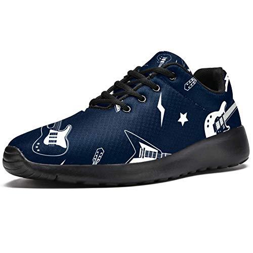 TIZORAX Sport-Laufschuhe für Frauen, Gitarreninstrument, mit Beleuchtung, Sterne, modische Sneaker, Netzstoff, atmungsaktiv, Wandern, Tennisschuh, Mehrfarbig - mehrfarbig - Größe: 39.5 EU