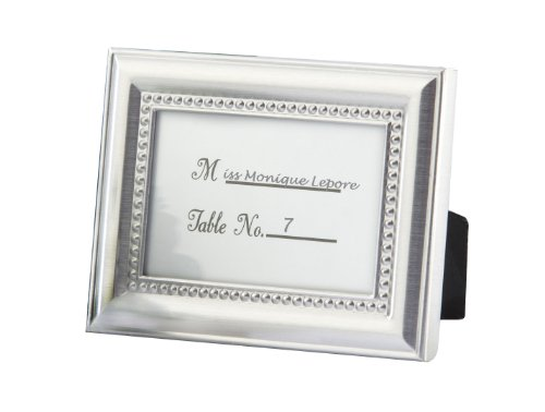 Kate Aspen Beaded Photo Frame/Placecard Holder, Bundle of 24, Silver