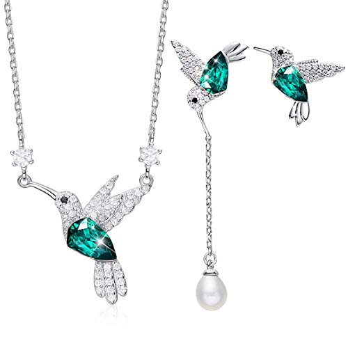 CDE Jewelry Sets Hummingbird S925 Sterling Silver Pendant Necklace Pearl Earrings Set Birthday Valentines Day Jewelry Gifts for Women Mom Girls