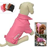 Lovelonglong Cool Dog Leather Jacket, Warm Coats Dogs Windproof Cold Weather Coats for Large Medium Small Dogs, Pomeranian Clothing Rose Pink M