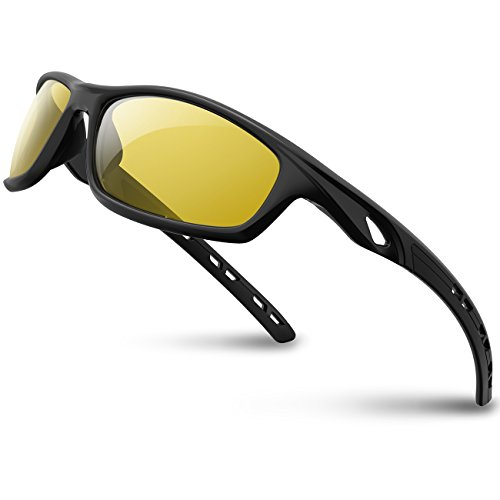 RIVBOS Polarized Sports Sunglasses Driving Sun Glasses shades for Men Women Tr 90 Unbreakable Frame for Cycling Baseball Running Rb833 833-black night version lens