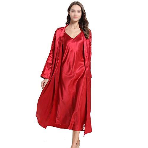 Camisones Vestir Ropa Interior Sin Mangas para Mujer Deslizamiento Completo Chaleco Anti Estático Deslizamiento Completo Underskirt Ladies Sedoso Dormir Conjunto Dos Piezas Red-XL