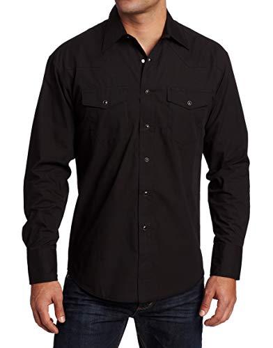 Wrangler Men's Sport Western Basic Two Pocket Long Sleeve Snap Shirt, Black, Medium