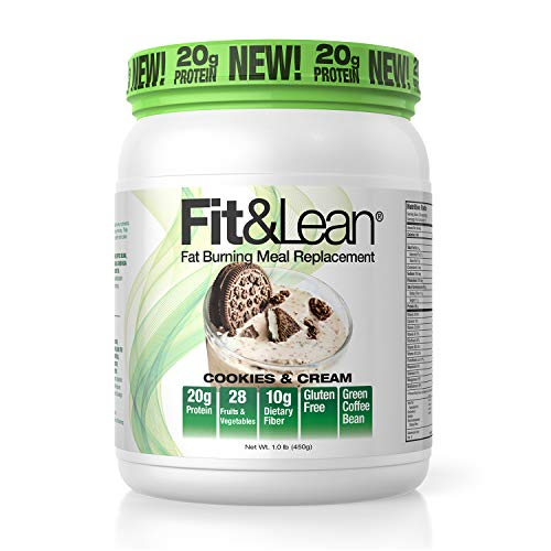 Fit & Lean Meal Shake Fat Burning Meal Replacement with Protein, Fiber, Probiotics and Organic Fruits & Vegetables and Green Tea for Weight Loss, Cookies and Cream, 1lb, 10 Servings Per Container
