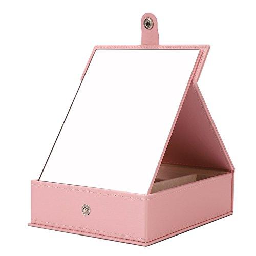 Meshela Boîte à Bijoux Voyage Coffret Portable Petite Miroir Cas Boîte de Rangement Cadeau Femme Coffret Boucles d'Oreilles Gris