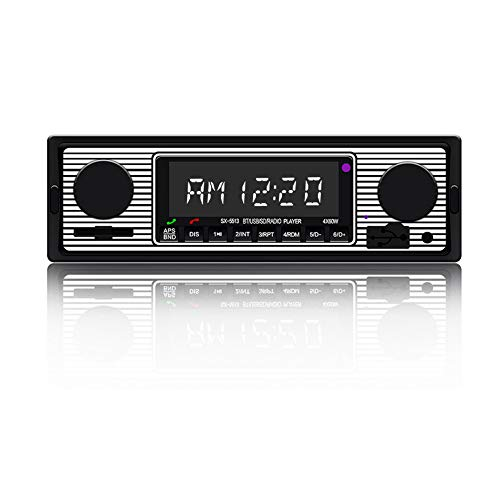 Vintage Classic Car Stereo with Bluetooth Single Din FM Car Radio, Dual Knob Car Audio Receiver with Remote Control, Built-in Microphone, Hands-Free Calling Support USB SD AUX