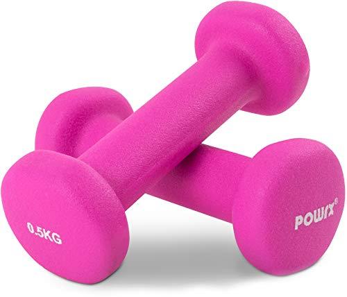 POWRX Neopren Kurzhantel 10er Set inkl. Workout I Hantel-Set ideal für Group Fitness Kraft Training I 10 Hanteln Gesamtgewicht 5 kg
