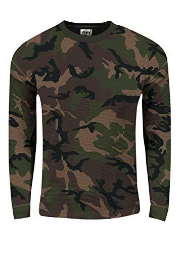 Shaka Wear Men's Knit Sweater - Heavyweight Waffle Thermal T Shirt Long Sleeve Crewneck Knitted Top Tee Tshirt Regular Big Size SH_FTC22 Camo 1X