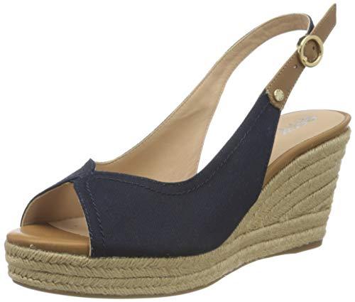 Geox Damen D Soleil A Wedge Sandal, Navy/Caramel, 39 EU