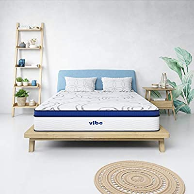 Vibe Quilted Gel Memory Foam and Innerspring Hybrid Pillow Top 12-Inch Mattress | CertiPUR-US Certified | Bed-in-a-Box Queen