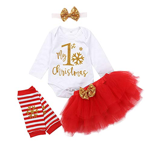 My 1st Christmas Outfits Baby Girl Long Sleeve Romper Tutu Skirt with 3D Bowtie Headband Striped 4pcs Clothing (Red, 0-3 Months)
